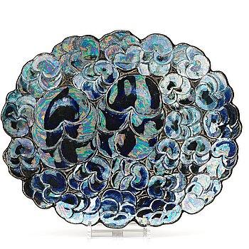 112. Birger Kaipiainen, a glazed stoneware dish, Arabia, Finland, probably 1960's.
