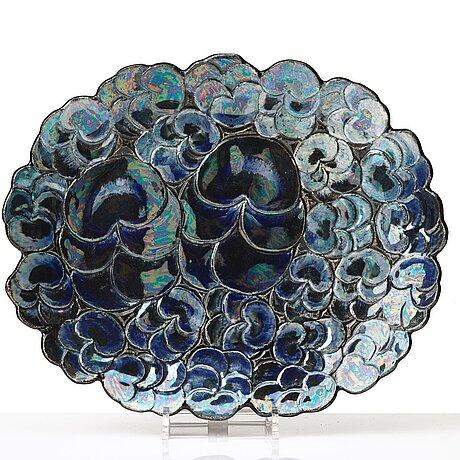 Birger kaipiainen, a glazed stoneware dish, arabia, finland, probably 1960's.