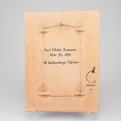 Stig lindberg, an earthenware wall plaque, gustavsberg, signed.