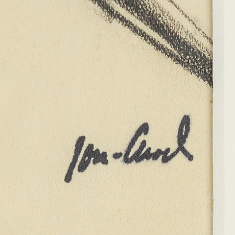 John jon-and, charcoal on paper. signed with stamp.