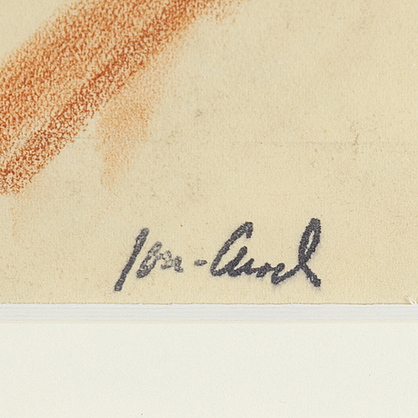John jon-and, red chalk. signed with stamp.