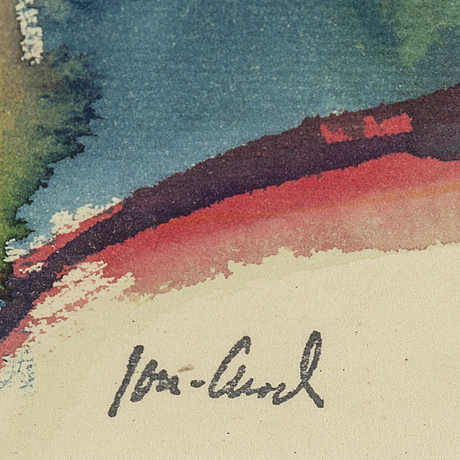 John jon-and, water colour and crayon on paper, signed with stamp, executed 1916.