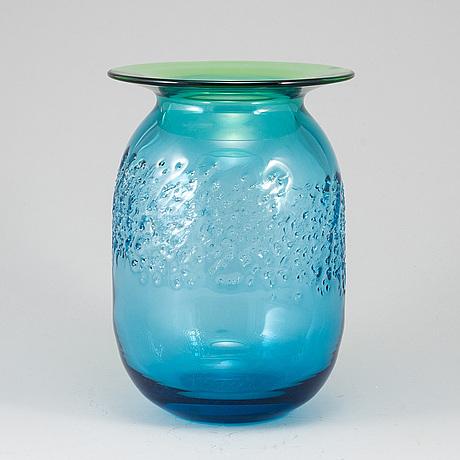 Kjell engman, a glass vase, signed, kosta boda.
