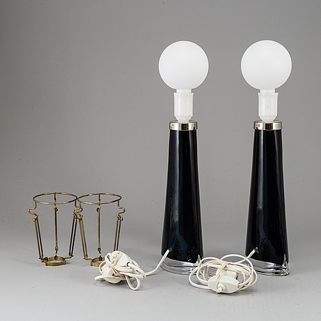 A pair of carl fagerlund table lamps, orrefors, second half of the 20th century.