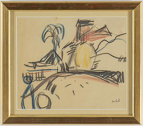 John jon-and, pastel on paper, signed with stamp, executed 1916.