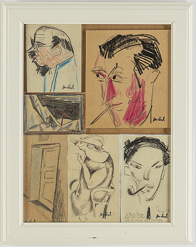 John jon-and, 6 sketches, framed together, signed with stamp, 1920-30s..