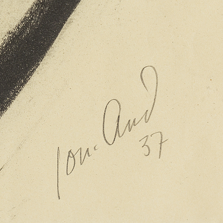 John jon-and, pastel on paper, signed jon-and and dated -37.