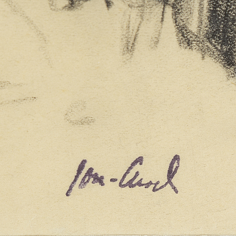 John jon-and, 2 choal/pencil drawings, sined with stamp.