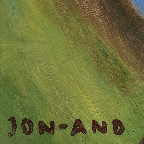 John jon-and, oil on panel. signed jon-and.