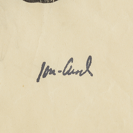 John jon-and, watercolour and pencil on paper, signed with stamp.