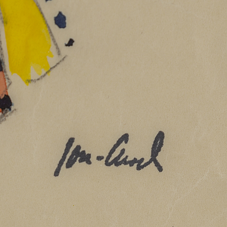 John jon-and, water colour and pencil on paper, signed with stamp.