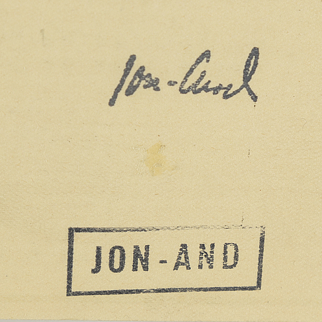 John jon-and, 2 pencil drawings, signed and signed with stamp.