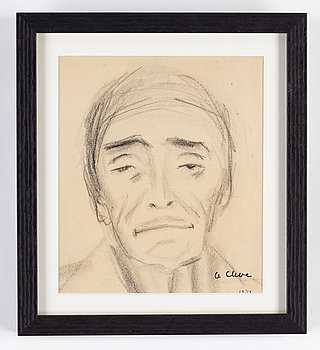 Agnes Cleve, 2 works, charcoal on paper and ink on paper, signed with stamp.