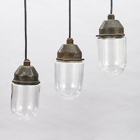 Three mid-20th century ceiling lamps for idman.