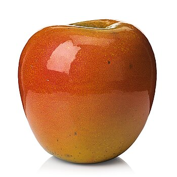102. Hans Hedberg, a faience sculpture of an apple, Biot, France.