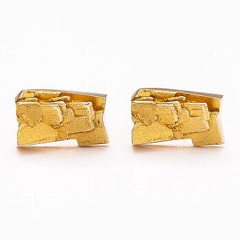 BJÖRN WECKSTRÖM, A pair of 14K gold cufflinks. Lapponia 1972.
