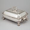 An english 19th century silver plated entrée dish and heater base.