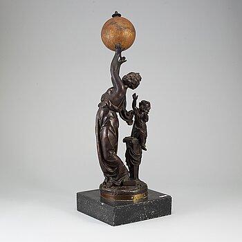 UNKNOWN ARTIST,SCULPTURE and A TERRESTRIAL GLOBE by E. Bertaux, Paris. Ca 1900.