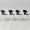 """Arne jacobsen, stolar, 4 st, """"myran"""", fritz hansen, danmark, 1971."""