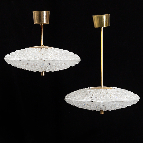A second half of the 20th century  ceiling lamps by carl fagerlund for orrefors.