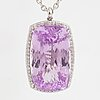 An large pink faceted kunzite pendant with chain.