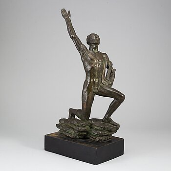 DAVID WRETLING, sculpture. Signed and dated. Foundry mark. Bronze.