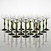 A set of 18 mid-20th century white vine glasses for kumela glassworks.