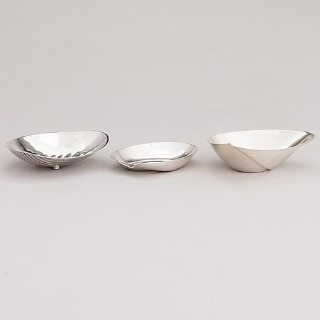 Tapio wirkkala, three silver bowls, kultakeskus, hämeenlinna and hopeatehdas, helsinki 1953-68.
