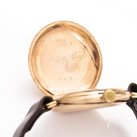 Election, wrist watch, lever escapement, 14k gold, early 20th century, 30 mm.