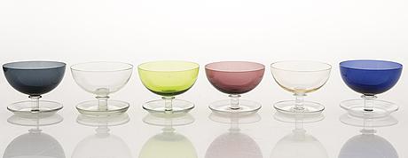 Saara hopea, a 17-piece set of dessert bowls model  '1344', nuutajärvi finland. design year 1952.