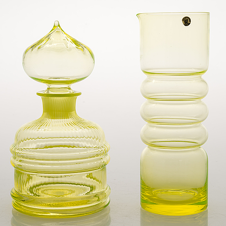Nanny still, a 21-piece set of 'sultan' and 'tzarina' glassware, riihimäen lasi 1964-72.
