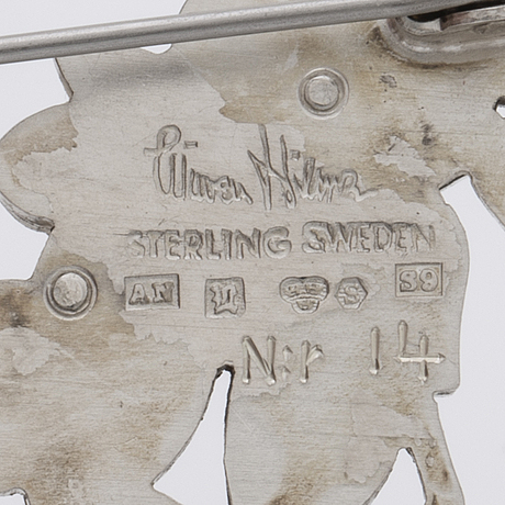 Wiwen nilsson, a sterling silver brooch, lund sweden, 1968.