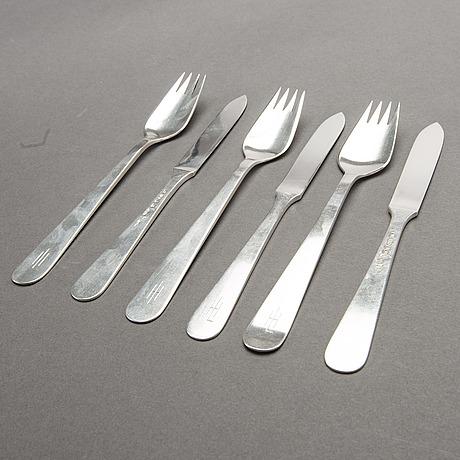 Wiwen nilsson, cutlery 6 parts, silver, lund, 1951-1955. weight 220 gram.