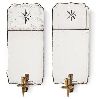 68. A pair of Rococo one-light girandole mirrors by Nils Meunier 1771.