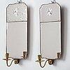 Spegellampetter, för ett ljus, ett par, av nils meunier (mästare i stockholm 1754-1797, rokoko.