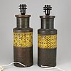 A pair of bitosse clay table lamps, bergboms, 1960/70s.