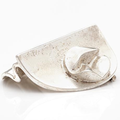 "BjÖrn weckstrÖm, a sterling silver brooch ""vela"". lapponia 1970."