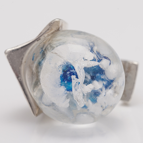 "BjÖrn weckstrÖm, a serling silver and acrylic ring ""pertified lake"". lapponia 1973."