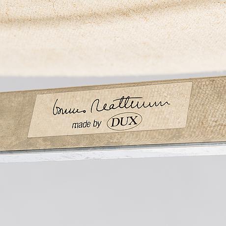 """Bruno mathsson, fåtöljer, ett par samt fotpall """"karin"""", dux 1900-talets slut."""