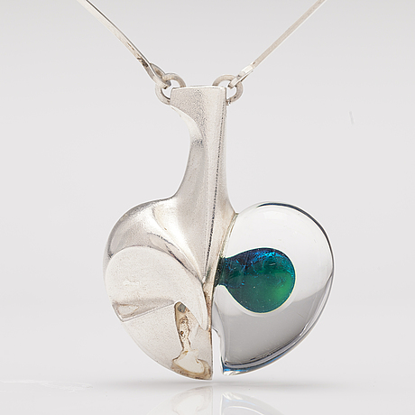 "BjÖrn weckstrÖm, a sterling silver and acrylic necklace ""space apple"". lapponia 1985."