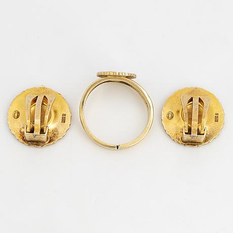 "Georg jensen, earrings and ring,  ""daisy""."