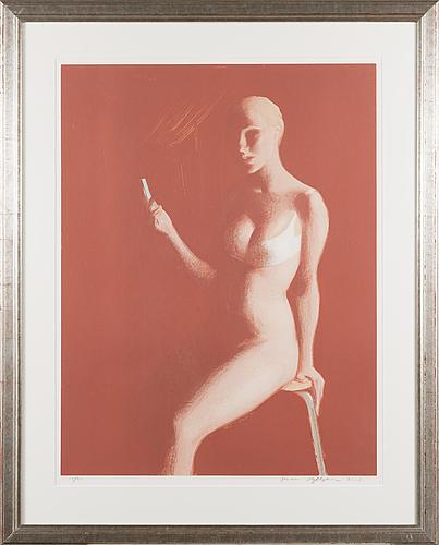 Janne myllynen, litografi, signerad, numrerad 24/70.
