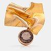BjÖrn weckstrÖm, a 14k gold brooch with an smoky quartz. lapponia 1966.