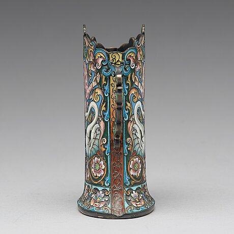 A feodor rückert silver and cloisonné enamled vase, moscow 1899-1908.