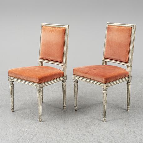 Stolar, 16 st, gustaviansk stil, 1900-talets andra hälft.
