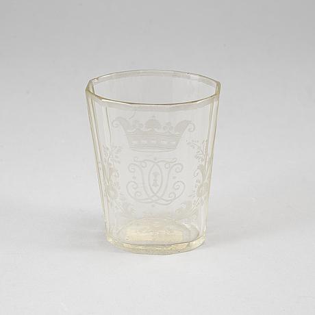 A glass beaker, 1800-tal,  probably bohemia.