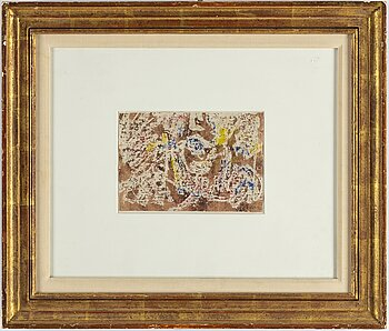 MARK TOBEY, handcoloured monotype, signed MT and dated -60.