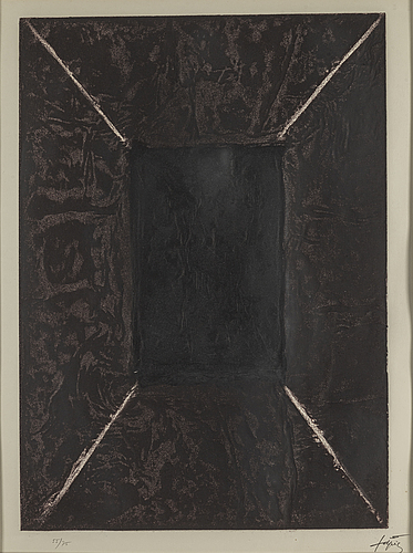 Antoni tÀpies, etching with carborundum, signed and numbered 55/75, 1969.