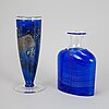 Bertil vallien, two glass vases, kosta boda.