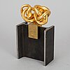 Miguel ortiz berrocal, gold-plated tin on base in blued steel and brass,  signed and numbered 87/500.